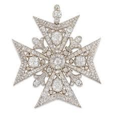 diamond maltese cross brooch pendant
