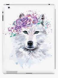 Cool Wolf With Floral Art Graphics Ipad Case Skin By Horseunicorns Redbubble