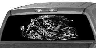 Riding Grim Reaper Anarchy Rear Window Graphic Decal Tint Perf Etsy