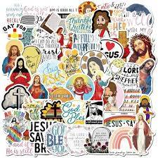Amazon Com 50 Pcs Jesus Christian Theme Stickers Waterproof Vinyl Scrapbook God Bless You Stickers Faith Wisdom Words Decals For Water Bottle Motorcycle Bicycle Luggage Decal Jesus Christian Stickers Arts Crafts Sewing