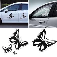 15 2 17cm Beautiful Butterflies Car Stickers Fashion Vinyl Car Styling Decals Black White Auto Body Window Decal Car Accessories Car Stickers Aliexpress