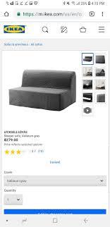 ikea lycksele lovas sofa bed gray