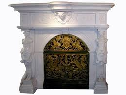 fireplace surround in white marble