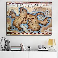 Neverland Map Vintage Wall Art Canvas Poster And Print Canvas Painting Decorative Picture For Bedroom Home Decor Painting Calligraphy Aliexpress