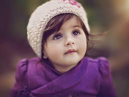 purple pretty dress and a cute baby
