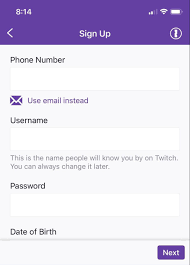 creating an account with twitch