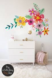 Florists Dream Vinyl Set Watercolor Wall Stickers Life Size Decals Floral Vinyl Decal Illustrated Floral Decals Floral Decal Watercolor Walls Girl Room