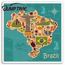 Jump Time For Brazil Map Vinyl Stickers Rio Travel Sticker Laptop Luggage Waterproof Accessories Car Bumper Window Decal Car Stickers Aliexpress