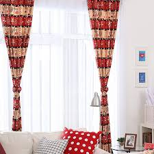 Brilliant Red Color Printed Patterns Cotton Curtains For Kids Room
