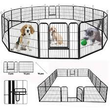 Suncoo Dog Pen Heavy Duty Folding Large Metal Dog Fence Cat Puppy Pet Exercise Playpen Indoor Outdoor 16 Panels 24 In Anti Rust Pet Crate Cage Barrier Kennels