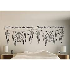 Amazon Com Bluegiants Vinyl Wall Decals Quotes Sayings Words Art Deco Lettering Inspirational Dream Catcher Follow Your Dreams They Know The Way For Living Room Bedroom Home Kitchen
