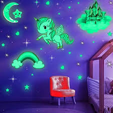 Amazon Com Glow In The Dark Stars Glowing Unicorn Sets With Castle Moon And Rainbow Wall Decals For Kids Bedding Room Great For Birthday Gift Wall Mural Stickers For Girls And Boys