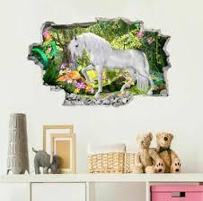 Home Garden Unicorn With Baby Castlescape Wall Decal Window Fairytale Fantasy Medieval Decor Children S Bedroom 3d Decor Decals Stickers Vinyl Art
