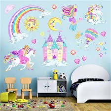 Kaboer Creative Rainbow Unicorn Wall Decals Removable Pvc Wall Stickers Castle Rainbow Sun Heart Clouds Wall Art Decor Home Wall Decor 3d Diy Stickers For Girls Rooms Bedroom Living Room Doors