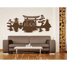 Asian Landscape With Buddha Meditating Wall Decal Buddhism Religion Wall Sticker Vinyl Wall Art Home Decor Wall Mural 3725 Orange 39in X 16in Walmart Com