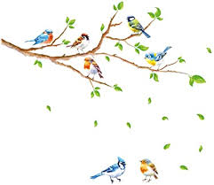 Amazon Com Decalmile Birds On Tree Branch Wall Stickers Green Leaves Wall Decals Baby Nursery Kids Bedroom Living Room Wall Decor Branch Size 47 Inches Kitchen Dining