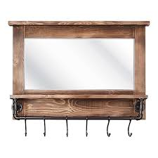wooden framed wall mirror with shelf