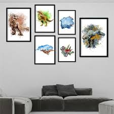 2020 Cartoon Animal Dinosaur Watercolor Wall Art Nordic Picture Nursery Kids Room Home Decor Art Decor Posters Canvas Painting M506 From Harriete 21 77 Dhgate Com