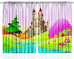 Ambesonne Kids Curtains Fairy Castle Of Room Decor By Girls Boys 5 12 Year Old Playroom Bedroom Decorations Nursery Art Themed Drapes Pink Multi Colored Curtai With Images Pink Curtains Nursery