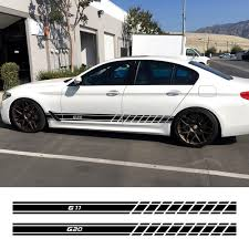 2pcs Auto Door Side Skirt Stripe Stickers Car Decals For Bmw G30 G20 G01 G02 G05 G06 G07 G08 G11 G12 G14 G15 G16 G21 G31 G32 G38 Buy At The
