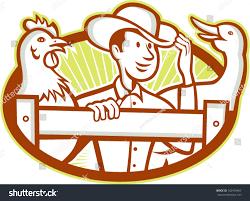 Illustration Farmer On Fence Chicken Goose Stock Vector Royalty Free 162459407
