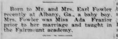 1921 - Earl and Ada Fowler - birth of Earl L. Fowler - Newspapers.com