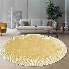 Super Sale D190a0 Light Yellow Round Area Rug With White Geometric Line For Bedroom Abstract Carpet Kids Room Washable Rug Floor Mat Antislip Cicig Co