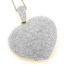3ct tdw pave diamond puffed heart