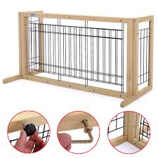Pet Supplies Doors 71 Inch Wood Freestanding Dog Pet Fence Indoor Safety Gate For Small Dog Natural Finish