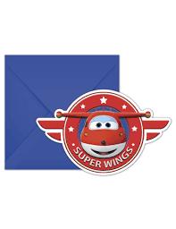 6 Tarjetas De Invitacion Con Sobres Super Wings 20 X 13 Cm