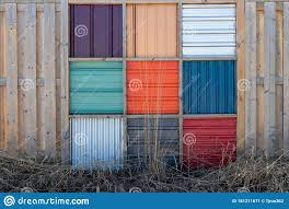 Decorative Metal And Wood Fence Stock Image Image Of Fence Square 181211671