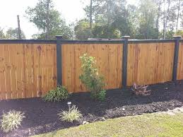 Wood Fence With Black Top And Black Posts Elite Fencing Modern Design In 2020 Privacy Fence Designs Wood Fence Design Backyard Fences