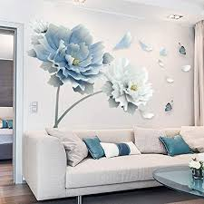 Amazon Com Large White Blue Flower Lotus Butterfly Removable Wall Stickers 3d Wall Art Decals Mural Art For Living Room Bedroom Home Decor Kitchen Dining