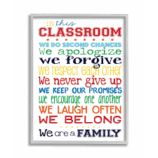 Shop The Kids Room By Stupell In This Classroom Rules Typography Art Grey Framed 11 X 14 Proudly Made In Usa 11 X 14 Overstock 30334774