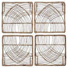 rattan wicker wall art set 14 x14 4