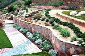 steep terraced landscape patio