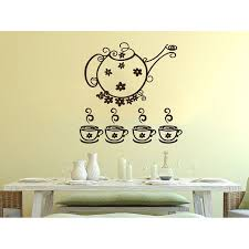 Shop Tea Kettle Cup Dishes Vinyl Sticker Decals Tea Cup For Kitchen Cafe Canteen Home Decor Art Sticker Decal Size 44x52 Color Black Overstock 14153327