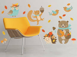Amazon Com Fall Animals Fabric Wall Decals Set Of 6 Animals Bear Hedgehog Squirrel Owl Birds And More Removable Reusable Respositionable Baby