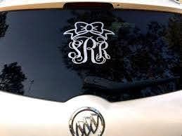 Glitter Monogram Car Decal Custom Name Car By Poshprincessbows1 10 99 Car Monogram Decal Glitter Monogrammed Monogram