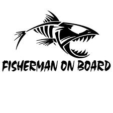 Fisherman On Board Skillet Fishing Decal Car Truck Boat Bumper Window Sticker Wish