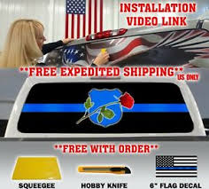 Thin Blue Line Police Support Nleom Logo Pickup Truck Rear Window Decal Tint Ebay