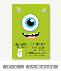 Personalised Mike Wazowski Monsters Inc Invitation Mike Wazowski