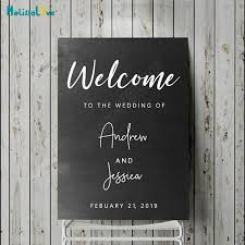 Welcome To The Wedding Of Party Decal Word Art Custom Name Date Reception Sign Baby Vinyl Decal Quote Wood Board Sticker B819 Wall Stickers Aliexpress