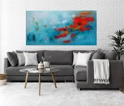 large horizontal wall art light teal