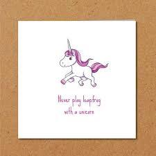 funny unicorn card friendship card girl friend card special