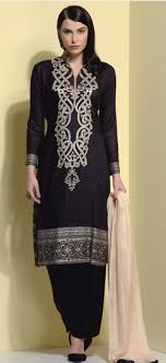 black block printed salwar suit
