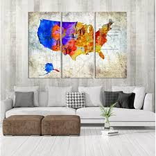 Usa States Map Wall Art Map Of States In Us Canvas Print Usa States Wall Decal