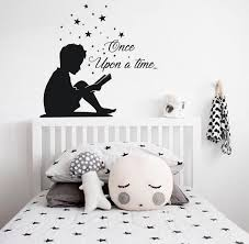 Reading Boy Wall Decal Once Upon A Time Decal Books Wall Decal Boy Reading Book Sticker Book Lover Quote Decal Book Corner School Boys Wall Decals Kids Room Wall Decals Book