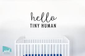 Hello Tiny Human Vinyl Decal Wall Art Home Decor Sticker Nursery B Airetgraphics