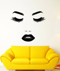 Vinyl Wall Decal Beautiful Girl Face Makeup Eyelashes Lips Stickers 3 Wallstickers4you